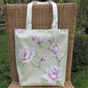 Pale green and pink floral Magnolias tote bag, handbag