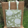 Floral tote bag, handbag - Pale green with white textured floral pattern