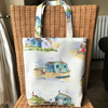 Cream tote bag, handbag with beach huts and coastal scenes pattern