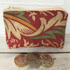 Small purse, coin purse in red William Morris design fabric