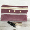 Large purple cosmetic bag, make up bag with braid, lace and button trim
