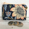 Small purse, coin purse in navy blue William Morris Strawberry Thief fabric