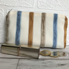 Large purse, coin purse in pale cream with textured stripes in blue and beige
