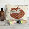 Sleepy Fox toiletry bag, wash bag - Cream with applique sleeping fox
