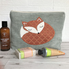 Sleepy Fox toiletry bag, wash bag in pale blue with applique sleeping fox