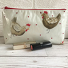 Make up bag, cosmetic bag in cream oilcloth with chickens and red polka dots
