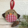 Rustic Christmas Robin hanging decoration in hessian and red gingham