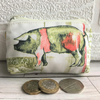Small purse, coin purse - farmyard print with pink and sage green pig