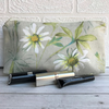 Cosmetic bag, make up bag with summer meadow daisies print