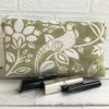Pheasant make up bag, cosmetic bag in sage green and white