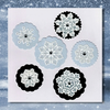 DieCut Scalloped Circles Silver Ice Blue Snowflake Card Toppers, Free UK Postage