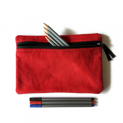Pencil case  zipper pouch cosmetic bag Red corduroy and black