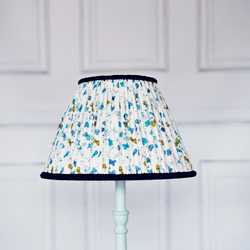 Blue and White Butterfly Hand Stitched Pleated Lampshade Fully Lined White Blue