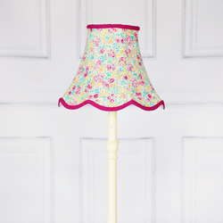 Pink, Green, Yellow, Blue Floral Traditional Lampshade Pink Vintage Look Lamp