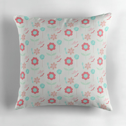 White, Pink and Blue Floral Cushion Cover 16 inch