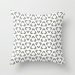 White, Black and Gold Triangle Geometric Cushion Cover16 inch