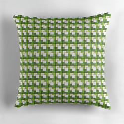 Green and Cream Squares Geometric Cushion Cover16 inch