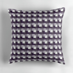 Purple and Cream Squares Geometric Cushion Cover16 inch