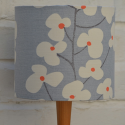 Grey floral lampshade with orange, John Lewis, 30cm