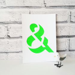 Ampersand original typographical papercut in neon by QueenieDot