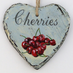 Hand Illustrated Slate Heart - 'Cherries'