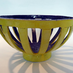 Yellow and purple large ceramic fruit bowl