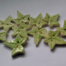 Green Ivy Leaf porcelain buttons