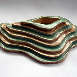 Green and sandy ceramic organic sculpture
