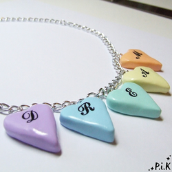 Pastel Hearts DREAM Necklace - pastel coloured clay hearts spelling out dream