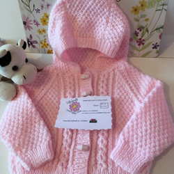 Babies Hand Knitted Aran Hoodie, Pink, Jacket, Coat, Baby Gift, Knitted, 0-6 mon