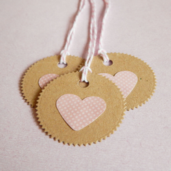 6 Pretty Pink Polka Dot Heart Tags With Hand Cut Kraft Card And Candy Cane Twine