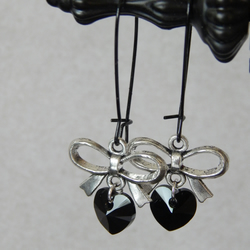 Black Swarovski Crystal Heart And Bow Earrings With Large Black Kidney Ear Wires