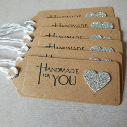 6 Hand Stamped Handmade For You Kraft Card Gift Tags With Sparkly Heart UK
