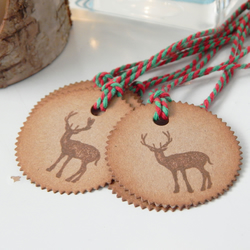 6 Stag Handmade Tags, Hand Ink Distressed, Vintage style