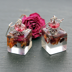 Real Dried Rose Petals Handmade Earrings Dangle Resin Flower Red Pink Long Bride