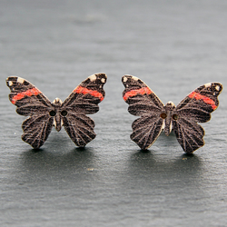 Butterflies Studs Earrings Wooden Butterfly Wings Black Cute Butterflies Insects