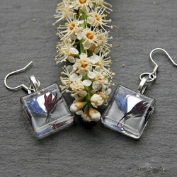 Real Dried Flowers Resin Earrings Dangle Flowers Elegant Long Bridal Floral Gift