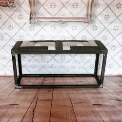 Handcrafted industrial chic bench