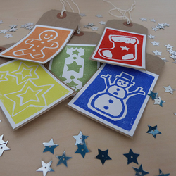 set of 5 hand printed Christmas gift tags