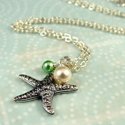 Sealife - Silver Starfish and Pearls Necklace
