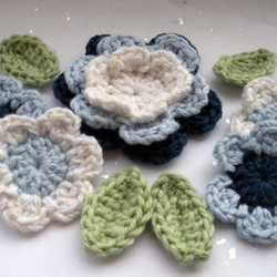 Blue Navy & White Crochet Applique Set of Flowers & Leaves
