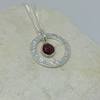 Raw Garnet in a Textured Ring Necklace