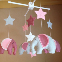 Baby mobile - Elephant mobile - Pink and Grey - Nursery decor
