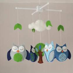 Owl baby mobile - Boys cot mobile - blues, grey and green nursery decor
