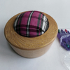 Spalted Beech Pie Shape Tartan Pin Cushion with Gold Wax Rim 968