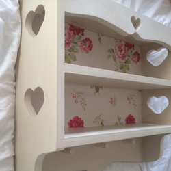 Hand Made Kitchen Peg Heart Shelf Unit & Cath Kinston Wallpaper Ready to Paint