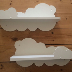 Nursery Cloud Shelves x2 Painted White Hand Mirror Image Cloud Shelf New