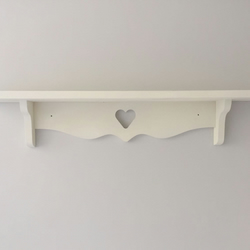 Hand made shabby chic heart shelf Annie Sloan White 80cms Nursery Kitchen etc
