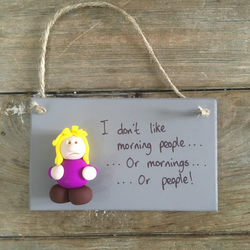 Hate morning people plaque funny wall hanger