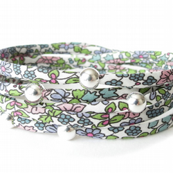 Petite Liberty fabric wrap bracelet for girls with sterling silver beads